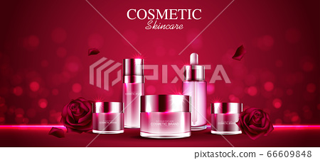Cosmetics or skin care gold product ads red rose bottle and background glittering light effect. vector design. 66609848