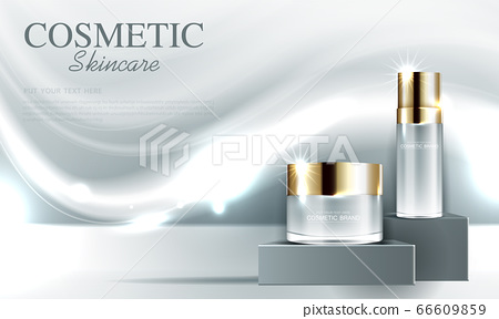 Cosmetics or skin care gold product ads with bottle and gray background glittering light effect. vector design. 66609859