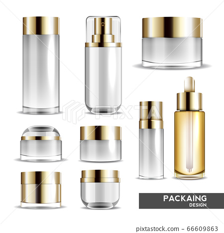 Packaging cosmetic beauty cream bottle for luxury cosmetic product. bottle for liquid, skin care cream. vector design. 66609863