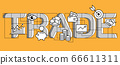 Typographical composition trade and finance in icon style 66611311