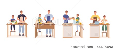 Happy father son cooking together at kitchen set 66613898