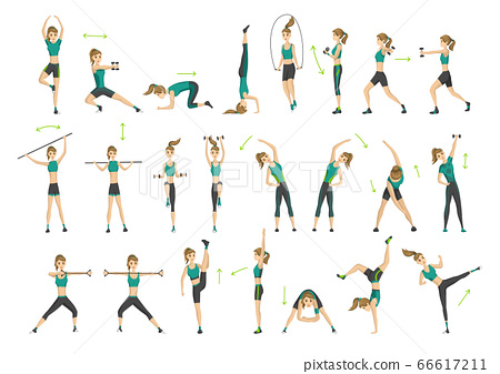 Woman fitness. Collection of workout aerobic fitness. Active and healthy life concept. Woman doing fitness and physical exercises 66617211