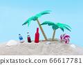 棕櫚樹,沙灘和飲料 66617781