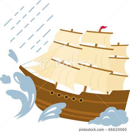 木製帆船被大浪摩擦 66620060