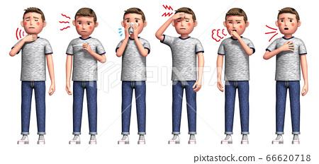 코로나 바이러스에 감염된 남성의 증상 6 종 66620718
