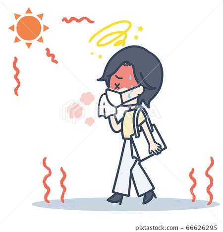 戴著面具在烈日下通勤的女人的插圖 66626295