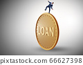 Businessman in debt and loan concept 66627398