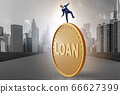 Businessman in debt and loan concept 66627399