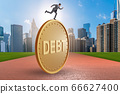 Businessman in debt and loan concept 66627400