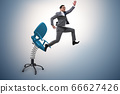 Promotion concept with businessman ejected from chair 66627426