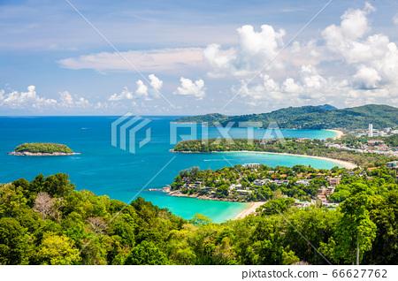 Beautiful aerial view point 3 beach of Kata, Kata Noi, Karon Beach at Phuket, Thailand. 66627762