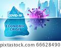 Concept of economic crisis from coronavirus covid-19 - 3d render 66628490