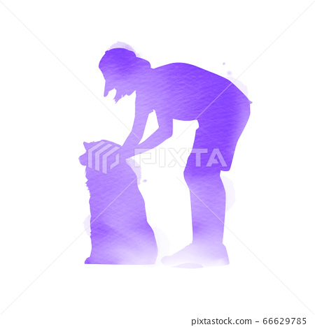 Pet care. A girl playing with dog  silhouette on 66629785
