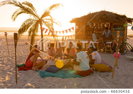 Mixed race friends group having fun on beach 66630438