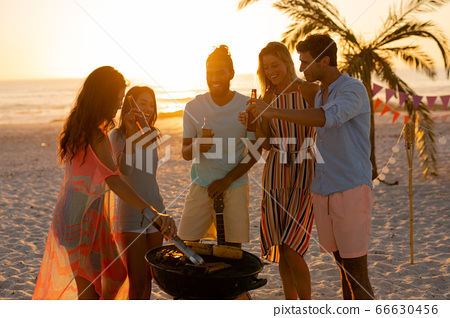 Mixed race friends doing barbecue on beach 66630456