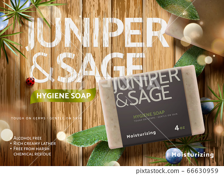 Herbal bar soap ad template 66630959