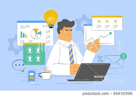 Busy multitasking businessman 66630996