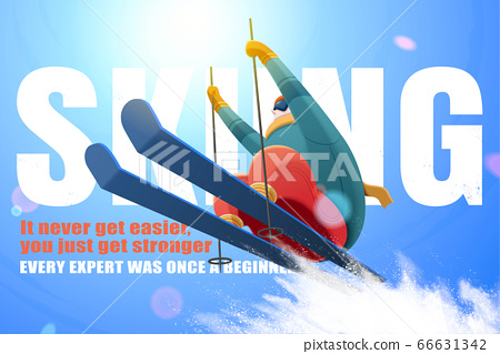 Skier jumping in the air 66631342