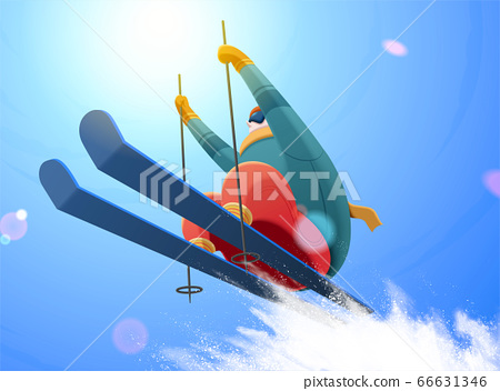 Alpine skier jumping under blue sky 66631346