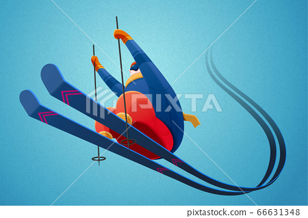 Alpine skier jumping in the air 66631348