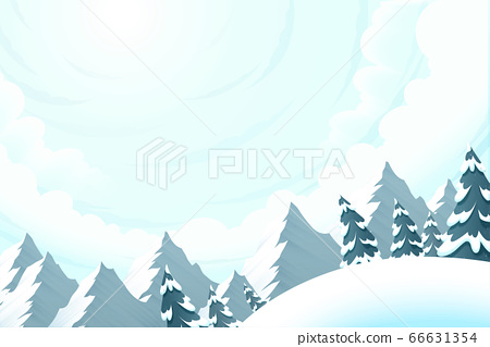 Beautiful snow slope with forest 66631354