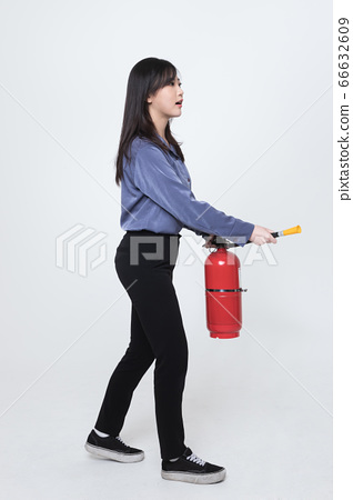 Asian male and female firefighter portrait, young smiling fireman in uniform 436 66632609
