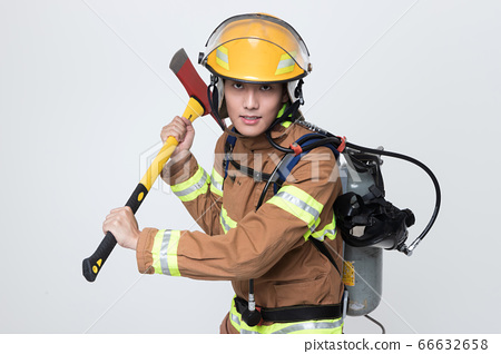 Asian male and female firefighter portrait, young smiling fireman in uniform 397 66632658