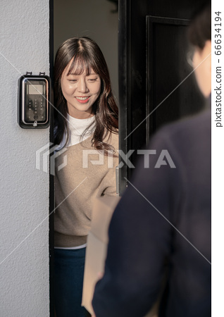 Young asian woman's Daily life concept. Enjoying daily routine 591 66634194