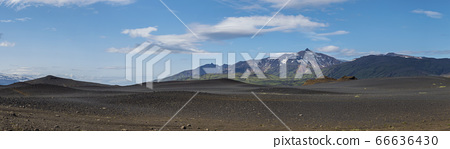 Wide panoramic volcanic lava desert landscape with 66636430