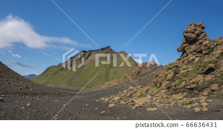 Panoramic volcanic desert landscape with lava rock 66636431