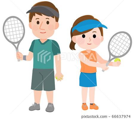 打網球的男性和女性姿勢的插圖 66637974