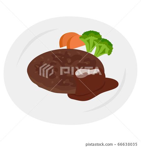 漢堡包的插圖與西蘭花和胡蘿蔔。 66638035