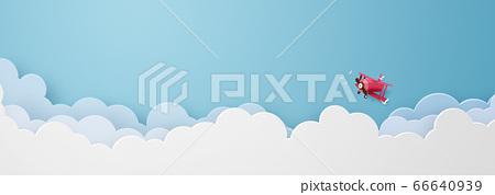구름 위를 비행 프로펠러기 [지공예] 66640939