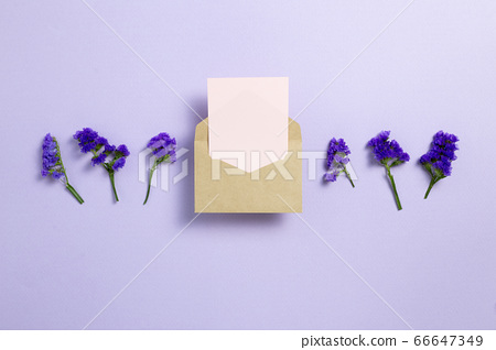 Kraft envelope and empty card with purple statice flowers on light purple background. Floral composition, flat lay, top view, copy space 66647349