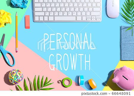 Personal growth theme with office supplies 66648091