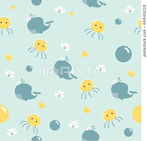 Cute little whale with jellyfish pattern 66649209
