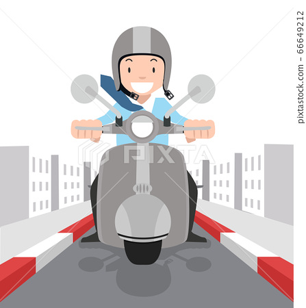 businessman driving his motorbike  going to work 66649212