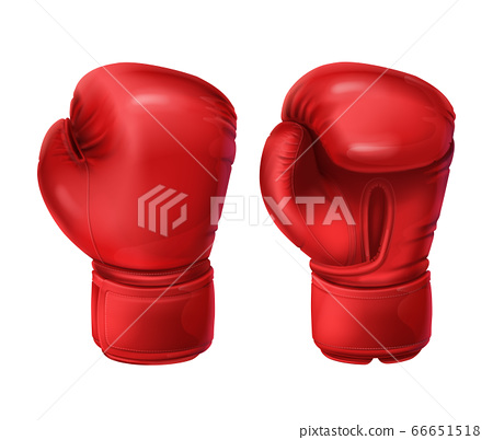 Realistic pairs of red boxing gloves 66651518
