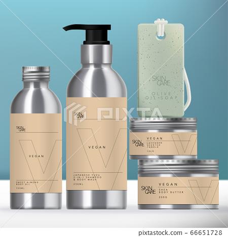 Vector Aluminum Beverage or Beauty Packaging Set with Screw Cap Pump Bottle, Jar & Soap on Rope. 66651728