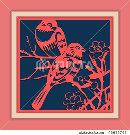 Vector Traditional Framed Chinese Paper Cutting Art, Classic Blue & Pink. 66651741