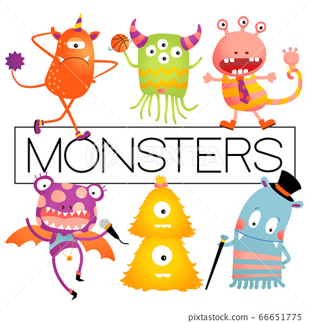 Vector Baby or Kids Design Elements, Colorful Happy Monster Set. 66651775