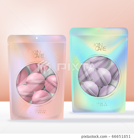 Vector Scented Bath Bomb in Iridescent Abstract Printed Zip Lock Pouch, Sachet or Packet Packaging with Clear Round Window. 66651851