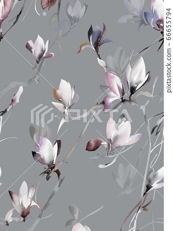 色彩豐富的水彩花素材組合和設計元素 66655794