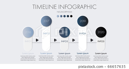 Timeline infographic template in neumorphism design for presentation. 66657635