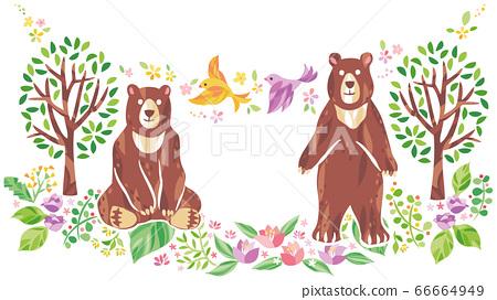 樹木,花朵和草等動植物插圖 66664949