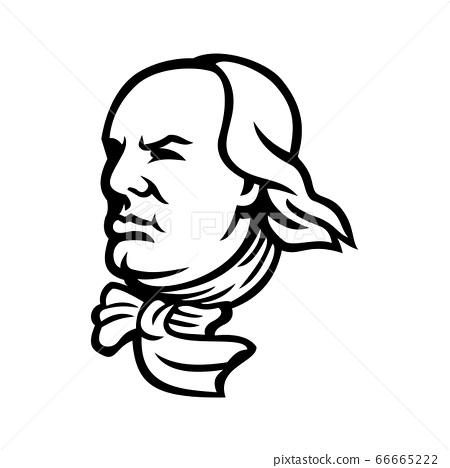 Head of Benjamin Franklin Mascot Black and White 66665222