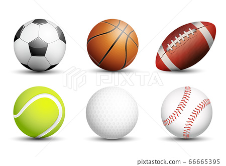 Soccer, Basketball, American football, Tennis, Golf and Baseball as healthy recreation and leisure fun activities for team and individual playing for health vector design. 66665395