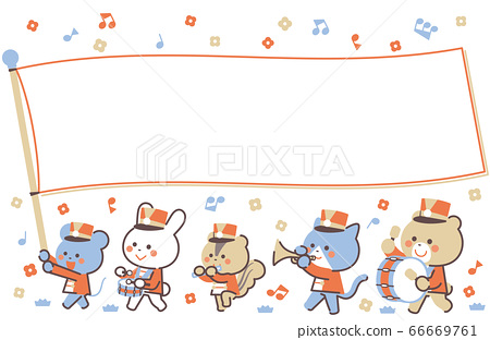 動物的遊行樂隊遊行旗幟框架4色簡單的顏色 66669761