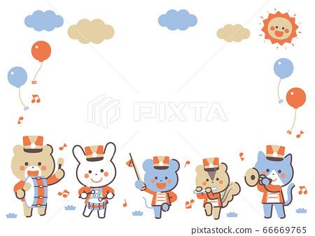 動物遊行樂隊人物框架4色簡單的顏色 66669765
