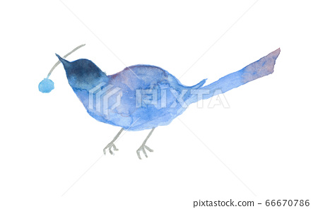 Illustration of a blue bird with tree nuts painted in watercolor 66670786